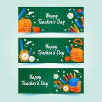 Teacher's Day on Green Square Chalkboard Banner vector