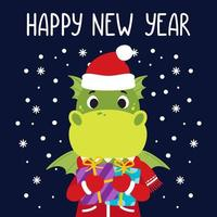 Dragon holds gifts. Happy new year greeting card with dinosaur. Vector illustration with cute character isolated background. Hand drawn lettering.