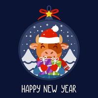 Christmas ball with the image of bull holding gifts. The symbol of the Chinese New Year 2021. Greeting card with a ox for the New Year and Christmas. Vector illustration. Scandinavian style.