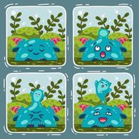 Comic about the swamp monster and the miracle of birth. Vector illustration isolated background.