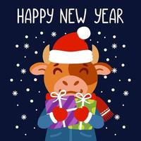 Bull holds gifts. The symbol of Chinese New Year 2021. Greeting card with ox. Vector illustration with cute character isolated background. Hand drawn lettering.