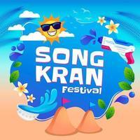 Songkran Water Festival with Water Gun Concept vector