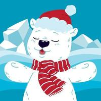 Cute polar bear at the north with santa claus hat and scarf. Happy new year and merry christmas greeting postcard. Vector illustration isolated background.