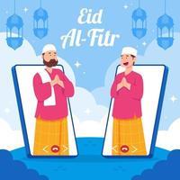 Celebración de eid en situación de pandemia mediante videollamada vector