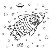 Dog in a rocket spaceship. Star galaxy. Cute cosmonaut dog in outer space. Vector illustration on the space theme in childish style. Picture for coloring book.