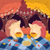 Hedgehogs tea party in the autumn forest, with a jar of honey. Glowing garlands hang on the trees. Children's vector illustrations for books, posters, and postcards. Woodland background.