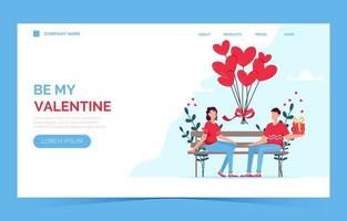 Valentines day romantic dating gift card landing page. Couple sitting on bench. Loving couple. vector