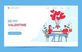 Página de inicio de la tarjeta de regalo de citas románticas del día de San Valentín. pareja sentada en un banco. pareja amorosa. vector