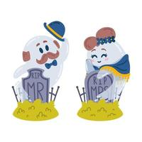 Halloween characters. Ghosts and gravestones. Love story in the cemetery. Two spirits Mr and Mrs meet at their tombstones. Rest in peace. 31 october. Vector illustration isolated on white background.