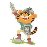 gato con botas personaje de cuento de hadas. tigre con espada, escudo y casco. gato disfrazado de guerrero medieval, caballero. ilustración vectorial aislado sobre fondo blanco. vector