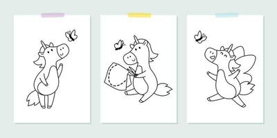 Vector set with cute unicorns with butterfly in the childish style. Vector illustration for coloring book. Outline black and white picture for children.