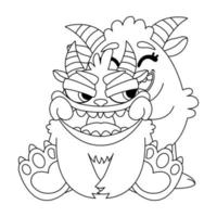 Cute monsters pulls a smile. Doodle vector illustration for coloring book. Outline black and white picture for children.