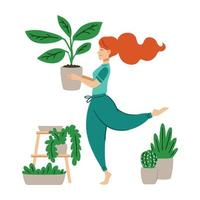Red haired girl dancing with a flower pot in her hands. A woman takes care of houseplant. Crazy plant lady. Work at home. Modern vector illustration in flat cartoon style.