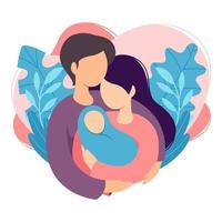 Mother and father holding their newborn baby. Couple of husband and wife become parents. Man embracing woman with child. Maternity, fatherhood, parenting. Cartoon flat vector illustration.