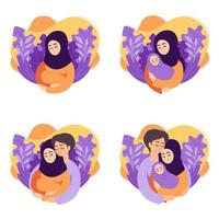 Pregnancy and parenthood concept vector illustrations. Set of scenes muslim pregnant woman, mother holding newborn, future parents are expecting baby, mother and father holding their newborn baby.