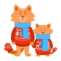 Gatos hijo y padre vistiendo suéter de punto rojo, bufanda, guantes. personaje de dibujos animados lindo animal. ilustración vectorial aislado sobre fondo blanco. vector