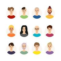 Set of men with different hairstyles, hair color and ages. Collection of males avatars. Vector illustration isolated on white background. Flat style.
