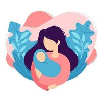 Mother holds the baby in her arms. Woman cradles a newborn. Cartoon design, health, care, maternity parenting. Vector illustration isolated on white background in trendy flat style.
