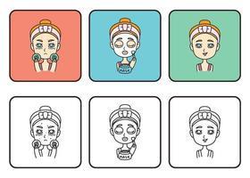 chica hace una mascarilla. Cuídate. chica adolescente hacer máscara con pepinos. ilustración vectorial aislado sobre fondo blanco. vector