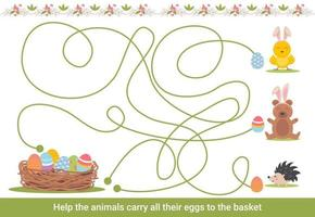 Easter maze for children. Preschool Christmas activity. Spring puzzle game with cute animals. vector