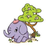 elefante con sombrero con caracol en la cola y ratón en un árbol. Ilustración de vector de personaje animal de dibujos animados aislado sobre fondo blanco.