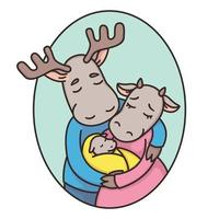 Family of deer or moose in an oval frame. Dad, mom, newborn. Father, mother and baby. True love. Cartoon animal character vector illustration isolated on white background.