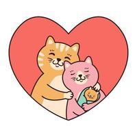 gatos familia madre, padre y bebé recién nacido abrazo en marco rojo en forma de corazón. tarjetas de felicitación para el día de san valentín, cumpleaños, día de la madre. Ilustración de vector de personaje de dibujos animados aislado sobre fondo blanco.