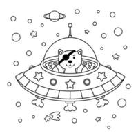 Alien cat pirate in a spaceship in a star galaxy. Cute cosmonaut cat in outer space. Vector outline illustration on the space theme in childish style for coloring book and page.