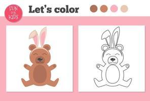 libro para colorear para niños en edad preescolar con oso y nivel de juego educativo fácil. vector