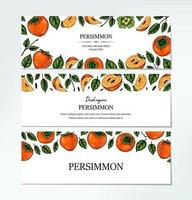 Set of hand drawn colorful persimmon horizontal design. Vector illustration in colored sketch style.