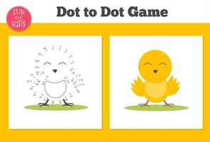 Dot to dot game for kids home schooling. Coloring page with duck for education. vector