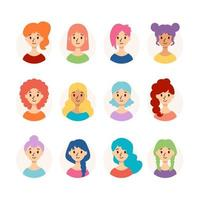 Set of beautiful women with different hairstyles and hair color. Collection of cute girls avatars. Vector illustration isolated on white background. Flat style.