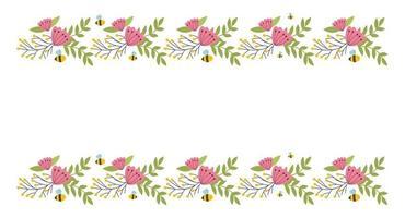 Floral border elements. Botanical bloom beautiful spring frame vector