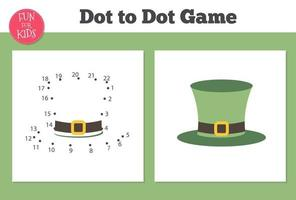 Dot to dot game for kids home schooling. Coloring page with leprechaun hat for children education.