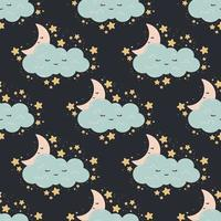 Seamless pattern with moon, stars, cloud on a dark background. Vector print for baby room, greeting card, kids and baby t-shirts and clothes, women wear. Good night, sweet dreams nursery illustration.