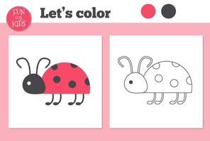 libro para colorear mariquita para niños en edad preescolar con un nivel de juego educativo fácil. vector