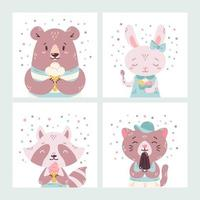 Set of cute funny cartoon summer animals. Bear, rabbit, raccoon and cat eating ice cream, licking popsicle, cone. Vector flat hand drawn illustration. Concept for children print. Isolated objects.