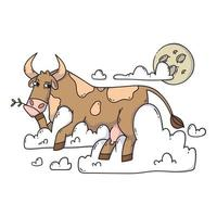 vaca descansando sobre las nubes y mirando la luna. relajarse y soñar. divertido, humor, ilustración de dibujos animados de animales.