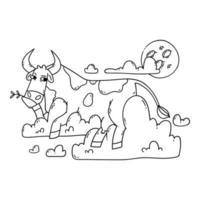 vaca descansando sobre las nubes y mirando la luna. relajarse y soñar. divertido, humor, ilustración de dibujos animados de animales. contorno, ilustración en blanco y negro para colorear página.