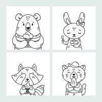 Set of cute funny cartoon summer animals. Bear, rabbit, raccoon and cat eating ice cream, licking popsicle, cone. Vector outline hand drawn illustration. Coloring pages. Black and white art.
