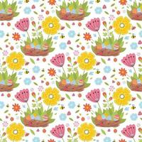 Easter spring seamless pattern with cute animals, birds, bees, butterflies. vector