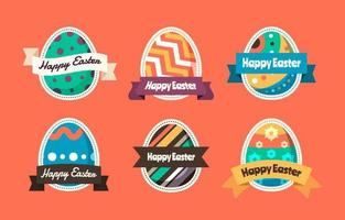 Painted Easter Eggs Sticker Collection vector