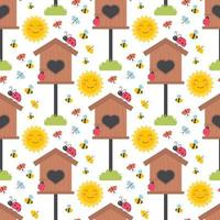 Easter spring seamless pattern with cute birdhouses animals, birds, bees, butterflies. vector