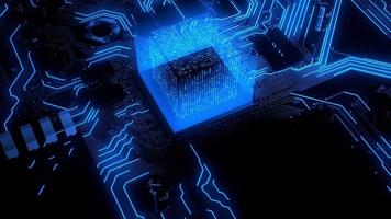 Computer CPU With Artificial Intelligence and Glowing Blue Transfer of Big Data in Science Development