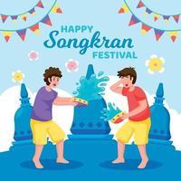 dos niños celebrando el festival de songkran vector