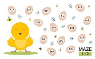 Maze game for children. Educational children math maze activity. vector