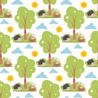 Easter spring seamless pattern with cute animals vector