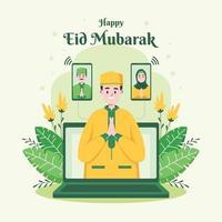 Online Meeting Celebrating Eid Mubarak vector