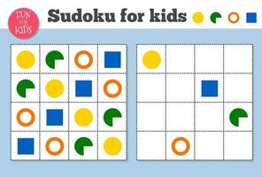 Sudoku. Kids and adult mathematical mosaic. Magic square. Logic puzzle game. vector