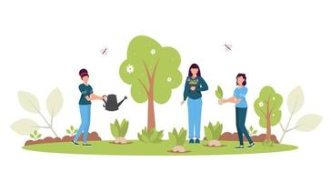 Spring Reforestation concept. Forest restoration, reforestation planting trees, environment day. vector